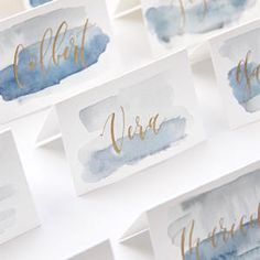 Modern calligraphy watercolor escort cards place cards name cards wedding g Diy Centerpieces Cheap, Wedding Centerpieces, Wedding Decorations, Modern Wedding Invitations, Wedding Stationery, Watercolor Wedding, Calligraphy Watercolor, Modern Calligraphy, Diy Wedding Calligraphy