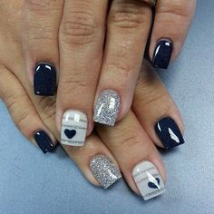 Cute and minimalist glitter nail art design consisting of matte glitter nails in silver and stripes on top of gray and midnight blue polishes. nail designs nail designs for short nails nail stickers walmart nail appliques best nail wraps 2019 Heart Nail Art, Heart Nails, My Nails, Nail Art Designs 2016, Heart Nail Designs, Navy Blue Nail Designs, Fingernail Designs, Cowboy Nails, Glitter Nail Art