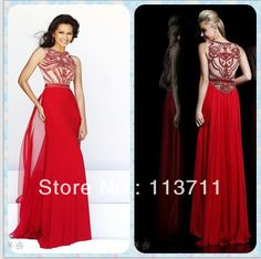 Delicate High Neck  Chiffon Long Red  Prom Dresses 2014 with Beads and Crystals New Arrival