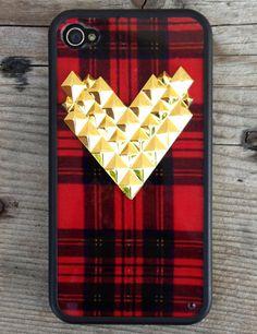 Tartan Gold Studded Heart Case | Wildflower cases