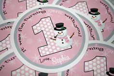 Winter ONEderland SNOWMAN Favor Gift Tags  GIRL by PinkInkCreation, $6.50