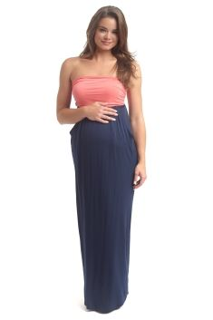 CORAL NAVY COLORBLOCK STRAPLESS MATERNITY MAXI DRESS - SMALL