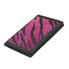 Trendy Tiger Hot Pink and Black Print Trifold Wallets created by ITDWildMe #tigerprint #animalprint #fashion