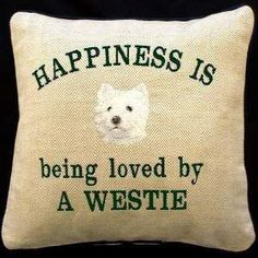 Westie Embroidered Cushions Now you can pamper yourself and not just your pet with these spectacular Dog Lovers Cushions. $50.00