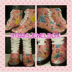 Details about Pink Disney Princess DM style Boots size 5 - Glitter - OOAK - Hand…