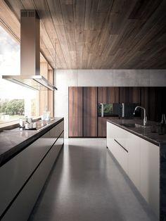 Lacquered wood veneer kitchen VELVET ÉLITE - @gdarredamenti