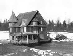 The Cronquist House crossing the Red Deer River from West Park to Bower Ponds. Red Deer, Old Buildings, Ponds, Historical Photos, The Past, March, Cabin, River, History