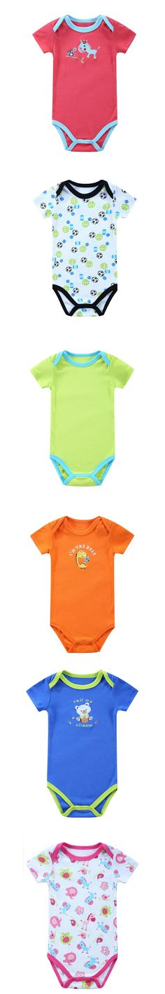 2016 Newborn Baby Rompers Clothes Cute Cartoon Baby Short Sleeve One-piece jumpsuit Baby Girl Romper Infant Clothing Ropa Bebe $3.6