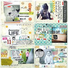 Project Life ::: love the mixed media look to these layouts