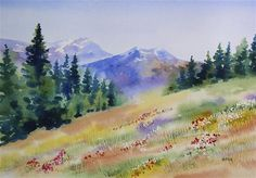"""HIGH SIERRA MEADOW watercolor landscape painting"" - Original Fine Art for Sale - © Barbara Fox"