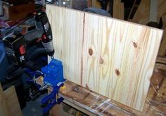 You can make your own furniture using the Kreg Jig.  This photos shows Ben drilling the pocket holes in a piece of a hamper.  The free plan for the hamper is on our website - www.start-with-free-woodworking-plans.com.