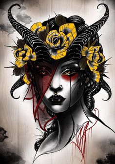 None of the artwork nor photography posted here is mine, credit goes to their rightful owners. Neo Tattoo, Gothic Tattoo, Dark Tattoo, Tattoo Drawings, Art Drawings, Satanic Tattoos, Tatuagem Old School, Tattoo Illustration, Neo Traditional Tattoo