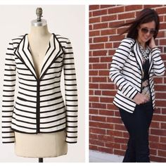 Anthropologie Hello Sunday Blazer Comfy, striped knit with the structure of a blazer is the perfect accompaniment to a dressy-yet-relaxed brunch. By Cartonnier. Front pockets  Hook-and-eye closure  Cotton, polyester  Minimal pilling Anthropologie Jackets & Coats Blazers