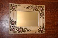 Items similar to 9.5x11.5 inch Wood Frame Henna Mirror on Etsy
