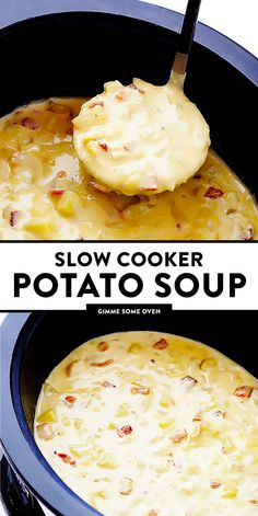 Cooker Potato Soup Slow Cooker Potato Soup -- so delicious, and made extra-easy in the crock pot! Slow Cooker Potato Soup, Crock Pot Potatoes, Easy Crockpot Potato Soup, Dinner Crockpot, Baked Potatoes, Slow Cooker Recipes, Gourmet Recipes, Cooking Recipes, Potato Recipes Crockpot