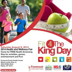 We want you, your family and your friends to attend Fit 4 The King on August 9, 2014. http://www.foremostfhc.org/english/subpages/events_f4tk.php