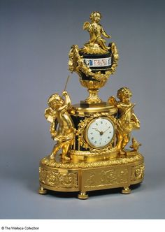 Mantel clock  Robert Robin (1742 - 1799), Movement Maker  Joseph Coteau (1740 - 1812), Enameller, (enamel band round vase)  France  c. 1785