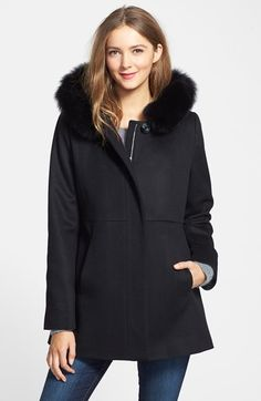 SACHI Genuine Fox Fur Trim Hooded Wool Blend Jacket (Regular & Petite) available at #Nordstrom