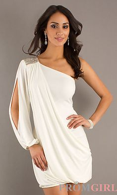 Laundry by Shelli Segal One Shoulder Party Dress White or Hot Pink