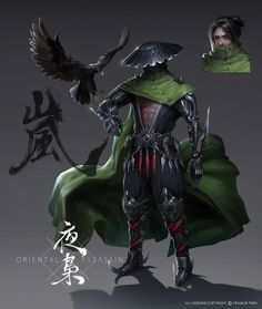 One of the main character from my personal project 'Oriental Assassin'. The leader of an assassin clan called 'NightOwl'. About twenty years, chivalrous, clear and calm, profound erudition, bo. Fantasy Characters, Samurai, Character Design, Ninja Art, Character Inspiration, Fantasy Warrior, Samurai Art, Fantasy Character Design, Art