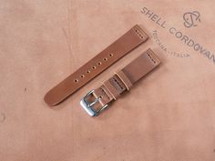 Italian Whiskey Shell Cordovan Leather Watch Strap 18mm