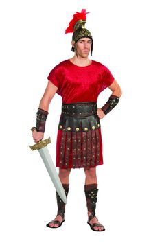 Roman Apron and Belt - If You! Are! Sparta! you need the right warrior apron and belt to tie together your Roman soldier costume. Pair it with a simple shirt or our basic black tunic and a pair of sandals for an easy costume that is comfortable and realistic. Be ready for battle this Halloween, or use it for a school play for realism. #warrior #costume #yyc