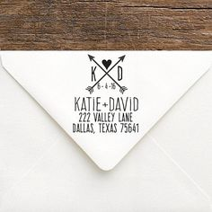 Personalize this Heart and Arrow ADDRESS STAMP to create a stylish and practical accessory for all your wedding stationery. This large (2 inch square) custom stamp SHIPS in 2-4 business days! by SouthernPaperAndInk   return address stamps | rubber return address stamps | wedding stamps | custom rubber stamps