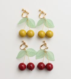 diy ideas, fashion, accessori, cherri earring, dots, cherries, jewelri, earrings, cherry jewelry