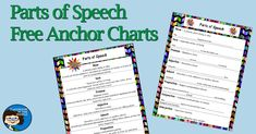 parts-of-speech-free-anchor-charts Spelling Activities, Vocabulary Activities, Spelling Ideas, Teaching Language Arts, Teaching English, 8th Grade Ela, Fourth Grade, Grammar Skills, Subject And Verb
