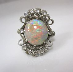 EXCEPTIONAL ANTIQUE ESTATE 5.10C DIAMOND FIERY OPAL DETAILED 18K WHITE GOLD RING #opalsaustralia