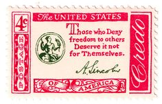 postage, vintage, vintage postage, vintage stamps, stamps, memorial day, america, american, american pride, credo, amercian credo stamps, american credo postage, 1960, those who deny freedom to others deserve it not for themselves, Abraham Lincoln, usa, u.s.a, united states of america