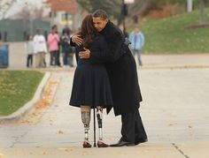 U.S. President-elect Barack Obama with Gulf War veteran Tammy Duckworth to honor America's veterans on Veterans Day at the Bronze Soldier Memorial Nov. 11, 2008 in Chicago, Illinois.