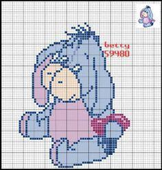 Disney Cross Stitch Patterns, Cross Stitch For Kids, Cross Stitch Baby, Cross Stitch Charts, Baby Cartoon Characters, Crochet Baby Mobiles, Diy Perler Beads, Pearler Bead Patterns, Eeyore