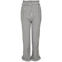 Topshop Gingham Frill Trousers (750.160 IDR) ❤ liked on Polyvore featuring pants, ruffle pants, topshop pants, white high waisted pants, gingham trousers and frilly pants