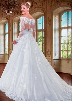 Charming Tulle Off-the-Shoulder Neckline A-line Wedding Dresses with Beaded Lace Appliques