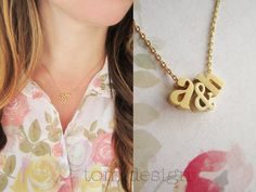 LOVE Tiny Gold Lowercase Initial & Ampersand Necklace by TomDesign, $24.00