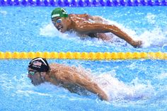 RIO DE JANEIRO, BRAZIL - AUGUST 09: Michael Phelps (L) of the United States leads Chad le Clos of South Africa in the Men's 200m Butterfly Final on Day 4 of the Rio 2016 Olympic Games at the Olympic Aquatics Stadium on August 9, 2016 in Rio de Janeiro, Brazil. (Photo by David Ramos/Getty Images) via @AOL_Lifestyle Read more: http://www.aol.com/article/2016/08/12/olympian-drops-out-of-summer-games-to-protect-beloved-horse/21450160/?a_dgi=aolshare_pinterest#fullscreen