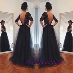 Pretty long prom dress with sleeves, open black tulle evening dress for teens, prom dress 2016 #coniefox #2016prom
