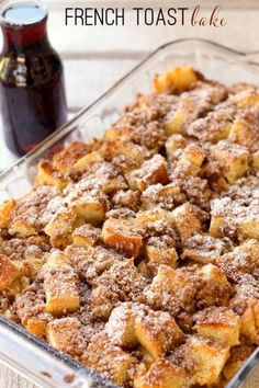 Overnight French Toast Bake recipe with brown sugar and cinnamon! Fantastic for Christmas or Easter. anytime you want / need a make ahead breakfast dish. Also works for brunch, dessert (add ice cream) or as a sweet side to a breakfast buffet. Breakfast Desayunos, Breakfast Dishes, Breakfast Recipes, Yummy Breakfast Ideas, Breakfast Party Foods, Breakfast Crockpot, Breakfast For A Crowd, Pancake Recipes, Homemade Breakfast