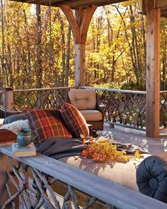 Southern Cottage 2018 - Cottage Journal All in favor of curling up here on the first chilly autumn evening? Outdoor Spaces, Outdoor Living, Outdoor Decor, Outdoor Furniture, Fresco, Southern Cottage, Backyard Cottage, Autumn Cozy, Autumn Fall