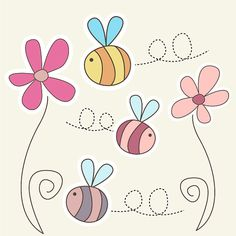 Cute Bumble Bee Clipart set  2 Flowers and 3 by CollectiveCreation, $4.00