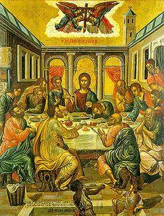 The Last Supper. 1585-91. Michael Damaskenos. Ecclesiastical art collection, St Catherine of the Sinaites, Herakleio, Crete, Greece.