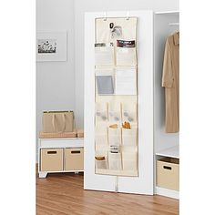 Clear the clutter of any room in the house with this Real Simple Over Multi-Pocket Organizer. No assembly required. Simply latch onto any door and instantly have a well-hidden, neat storage center. Wall Storage Cabinets, Door Storage, Over The Door Organizer, Pocket Organizer, Deco Studio, Small Bedroom Storage, Storage Center, Ideas Para Organizar, Small Space Solutions