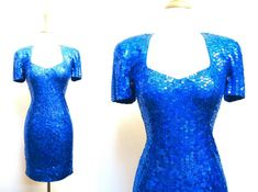 80s Blue Sequin Party Dress by VolereVintage on Etsy, $115.00