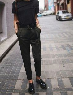 black patent oxfords with no socks and ankle-length trousers