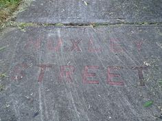 The street name on the pavement