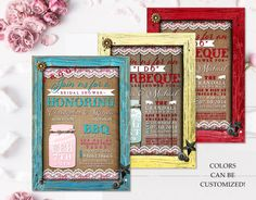 The perfect country rustic bridal shower invitation for your wedding shower, bridal shower, engagement party or whatever else you have in mind! Features a wood frame that can be changed to any color you wish. Burlap background with a lighted mason jar holds your party date and time. Frame is embellished with faux metal buttons and stars. 2 lil pigs can be found inside the frame. A fun party invitation for any country or summer party. Great for BBQ's too!