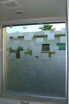 Floating Squares Glass Sticker Design, Frosted Glass Sticker, Glass Film Design, Window Glass Design, Frosted Glass Design, Frosted Glass Door, Tv Wall Design, House Design, Glass Partition Designs