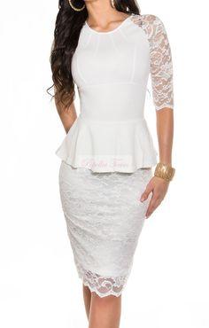 Krátké, elegantní bílé krajkové šaty, svatební, plesové. 3/4 rukáv, délka MIDI.