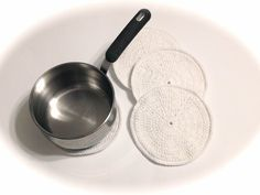 White Cotton Crocheted Round Potholders-Set Of Four by MeAndMomsCrafts on Etsy